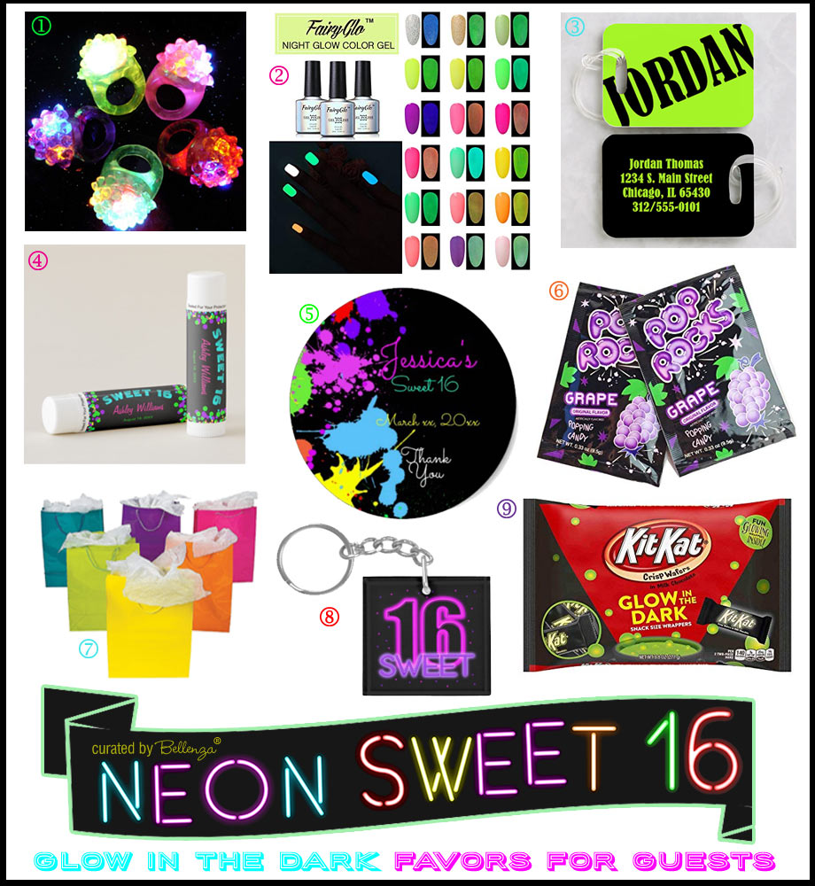 Glow Sweet 16 Favors from Nail Polish to Candy
