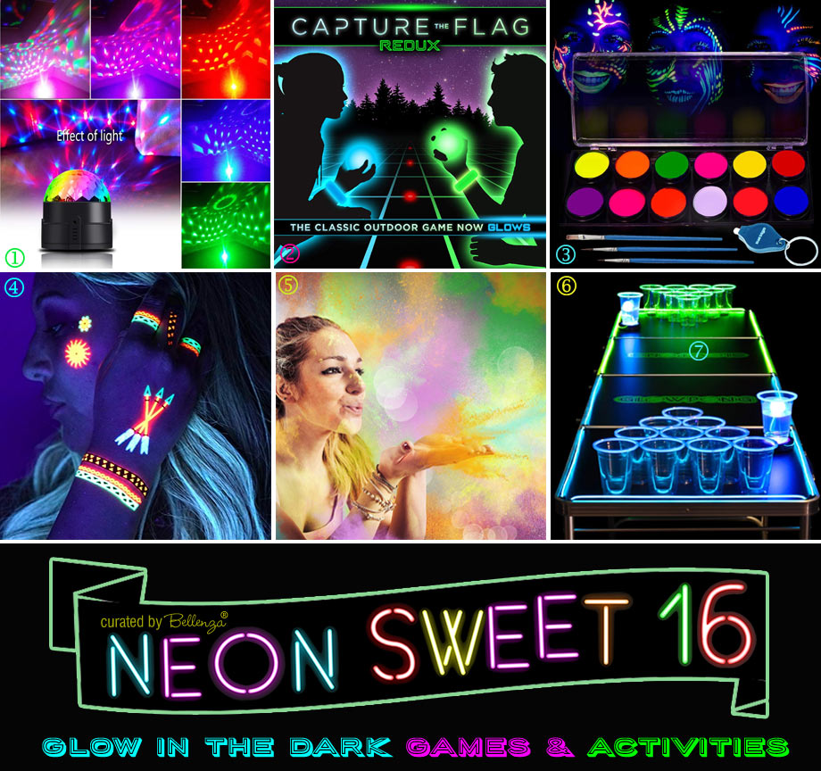 Glow in the Dark Sweet 16 Party Games and Activities from Dance to Tattoos