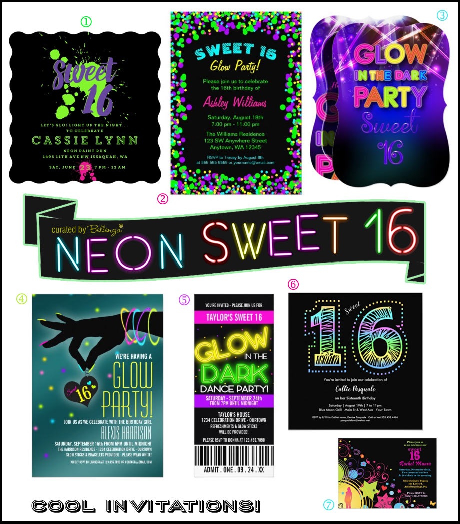 Glow in the Dark Sweet 16 Party Invitations from Neon Splatter to Tickets