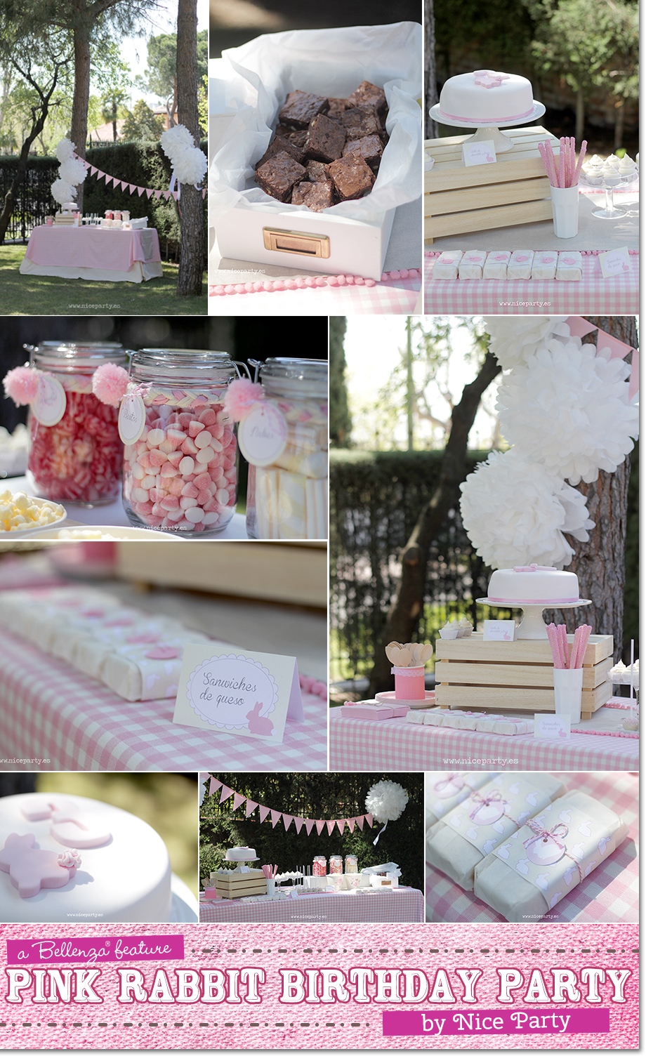 A snack and sweets table for a pink rabbit birthday theme.