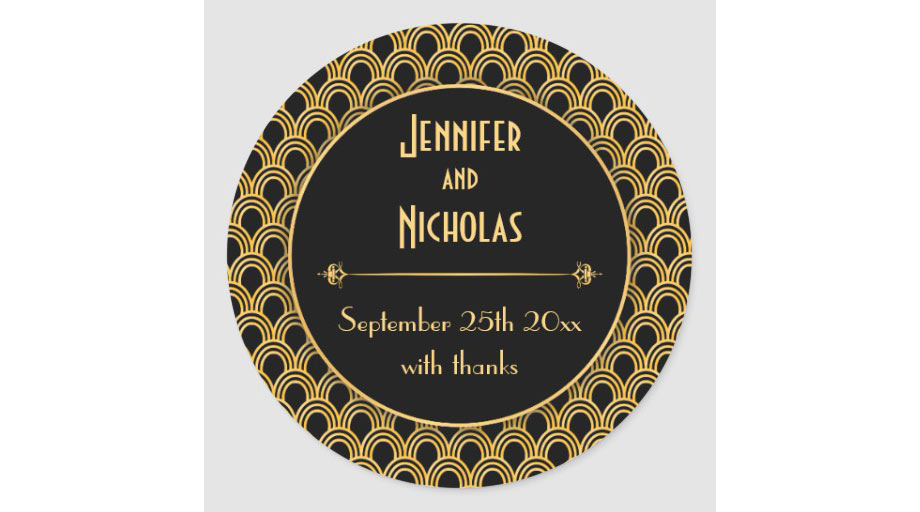 Art deco inspired sticker labels