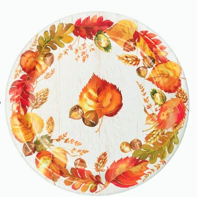 Colorful fall leaves for Thanksgiving paper plates