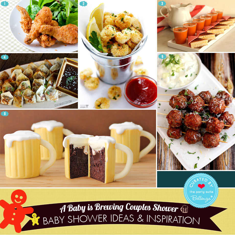 Baby Shower Food Ideas that Go with Beer! From Popcorn Shrimp to Wontons to Fried Chicken and Beer Mug Cupcakes