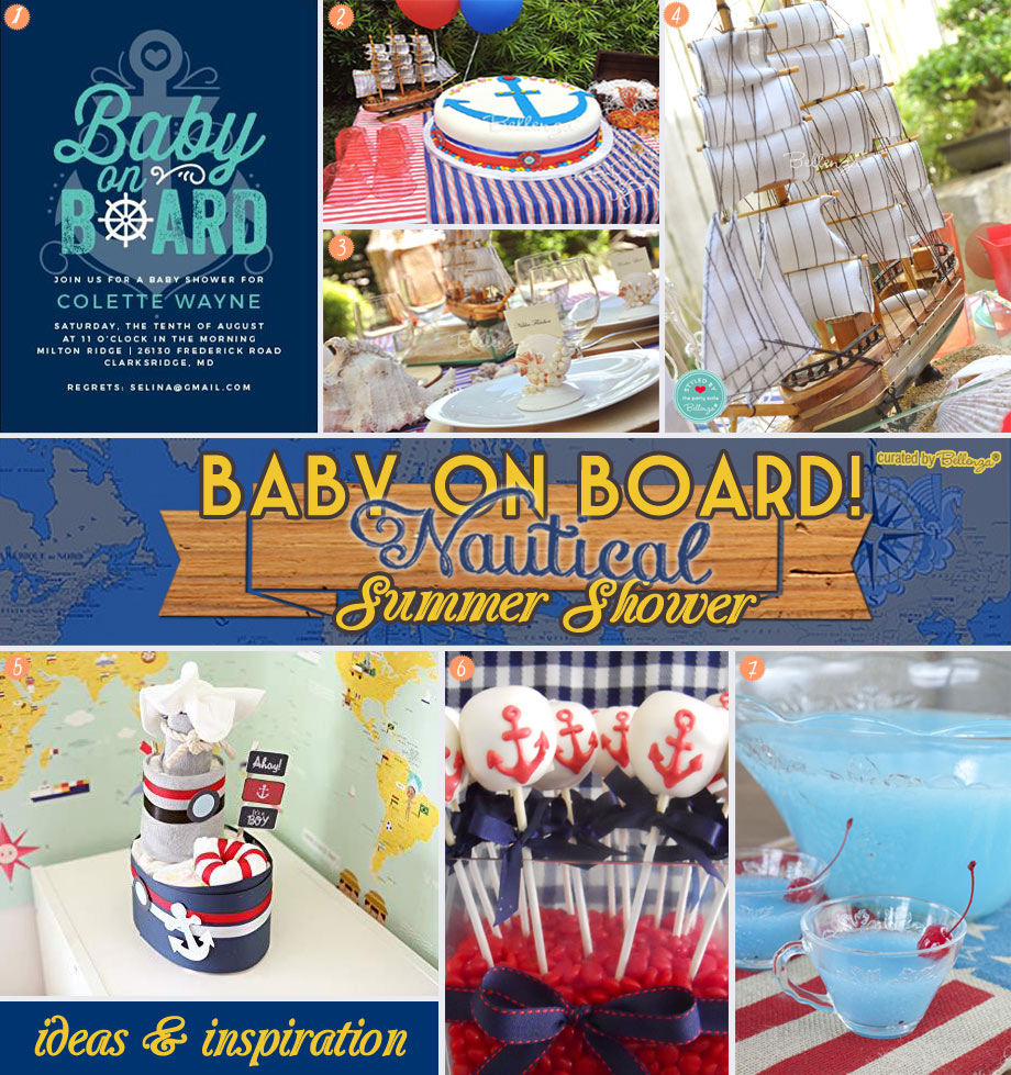 Nautical-themed Party Inspiration Board from Decor to Drinks