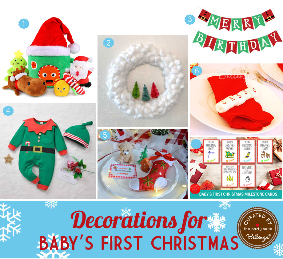 Christmas-themed Decorations for a Baby's Birthday