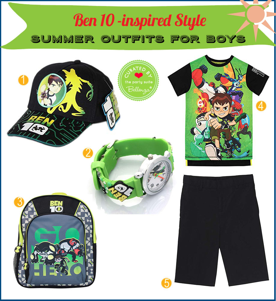 A Ben 10 cartoon inspired outfit from cap to shorts.