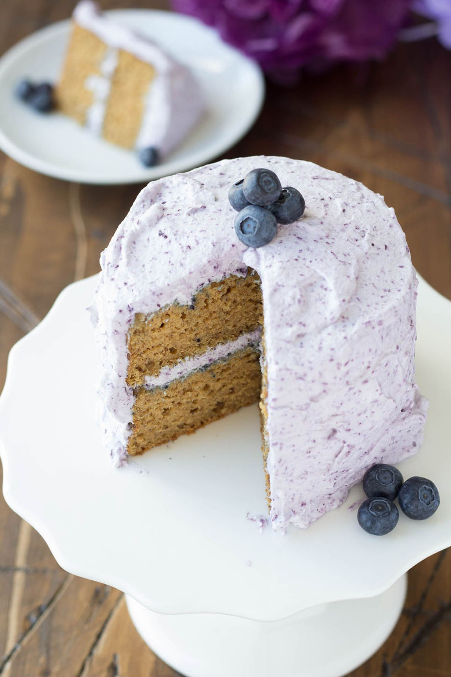 Whole Wheat Banana Cake with Blueberry Whipped Cream Frosting