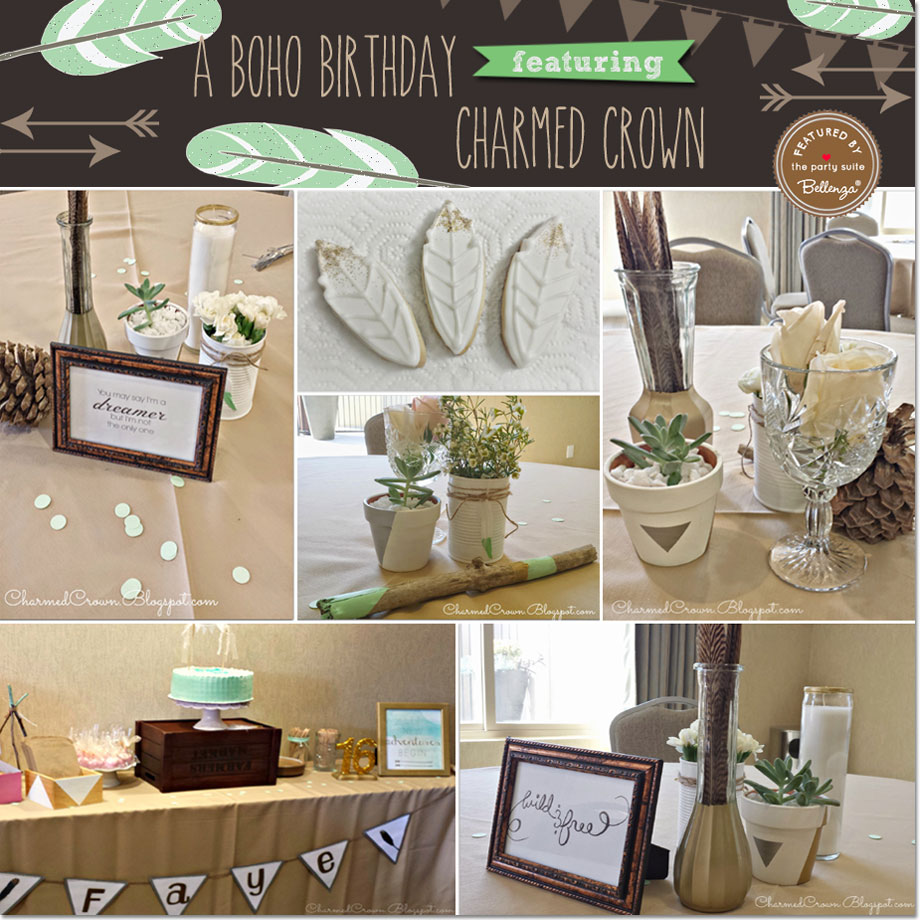 A Bohemian-inspired Sweet 16 Brunch by Charmed Crown. Featured on the Party Suite at Bellenza.