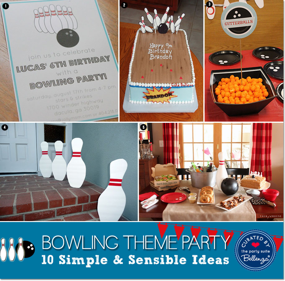 Bowling Birthday Party Decor, Food, and Invites