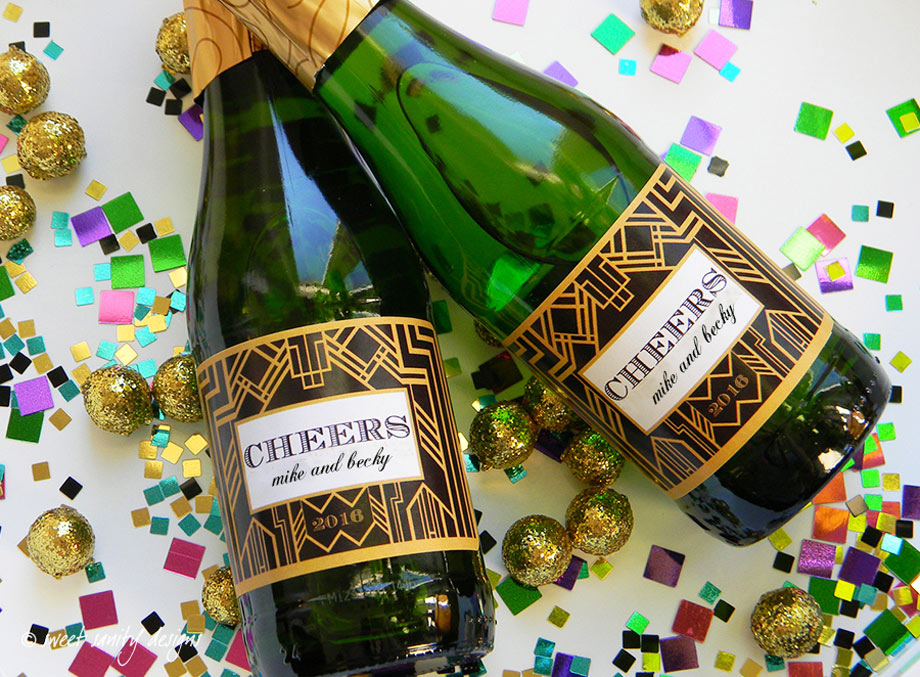 Black and gold custom labels for champagne favors