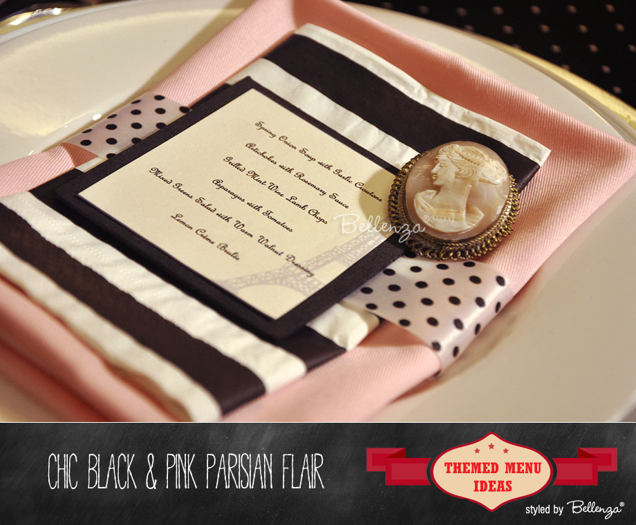 Chic black and pink cameo Parisian menu card