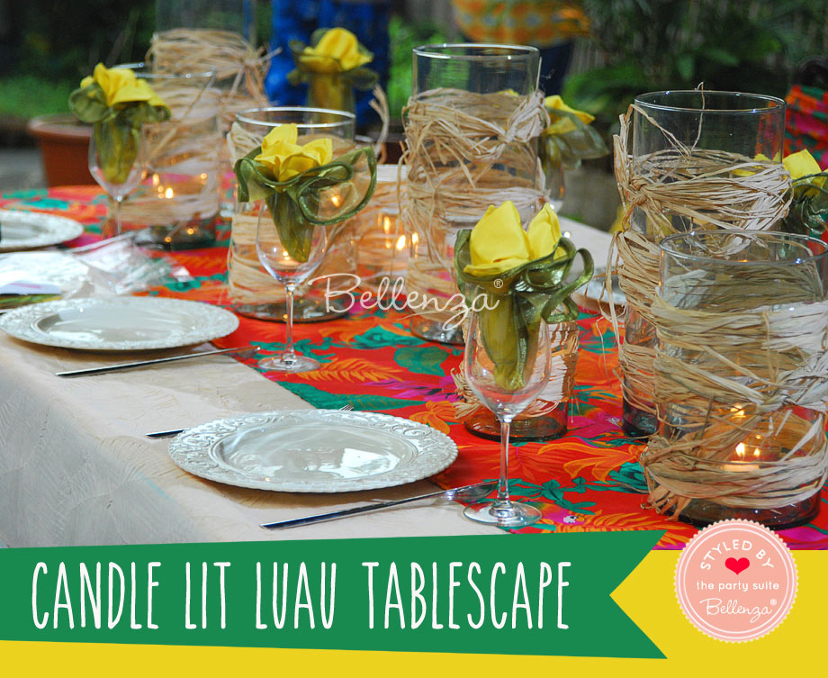 Luau tablescape with candle decorations