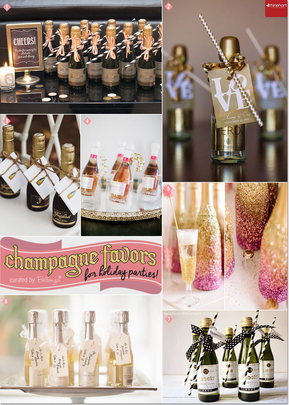 Champagne Favor Ideas with Striped Straws and Dainty Ribbons, Glittered bottles, and Thank-you tags!| as featured on Bellenza