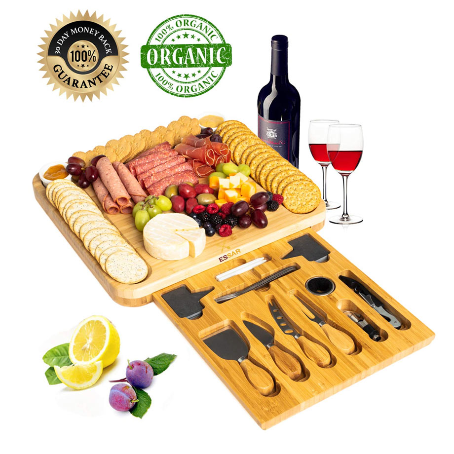 Large Bamboo Cheese Board Set via Amazon