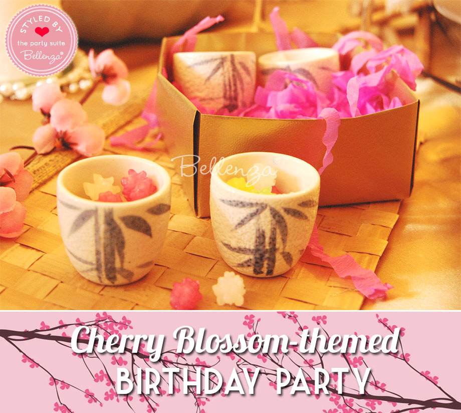 Candy in sake cups for Cherry Blossom birthday