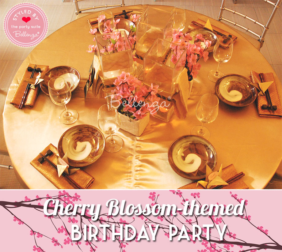 Tablesetting and decor for Cherry Blossom birthday