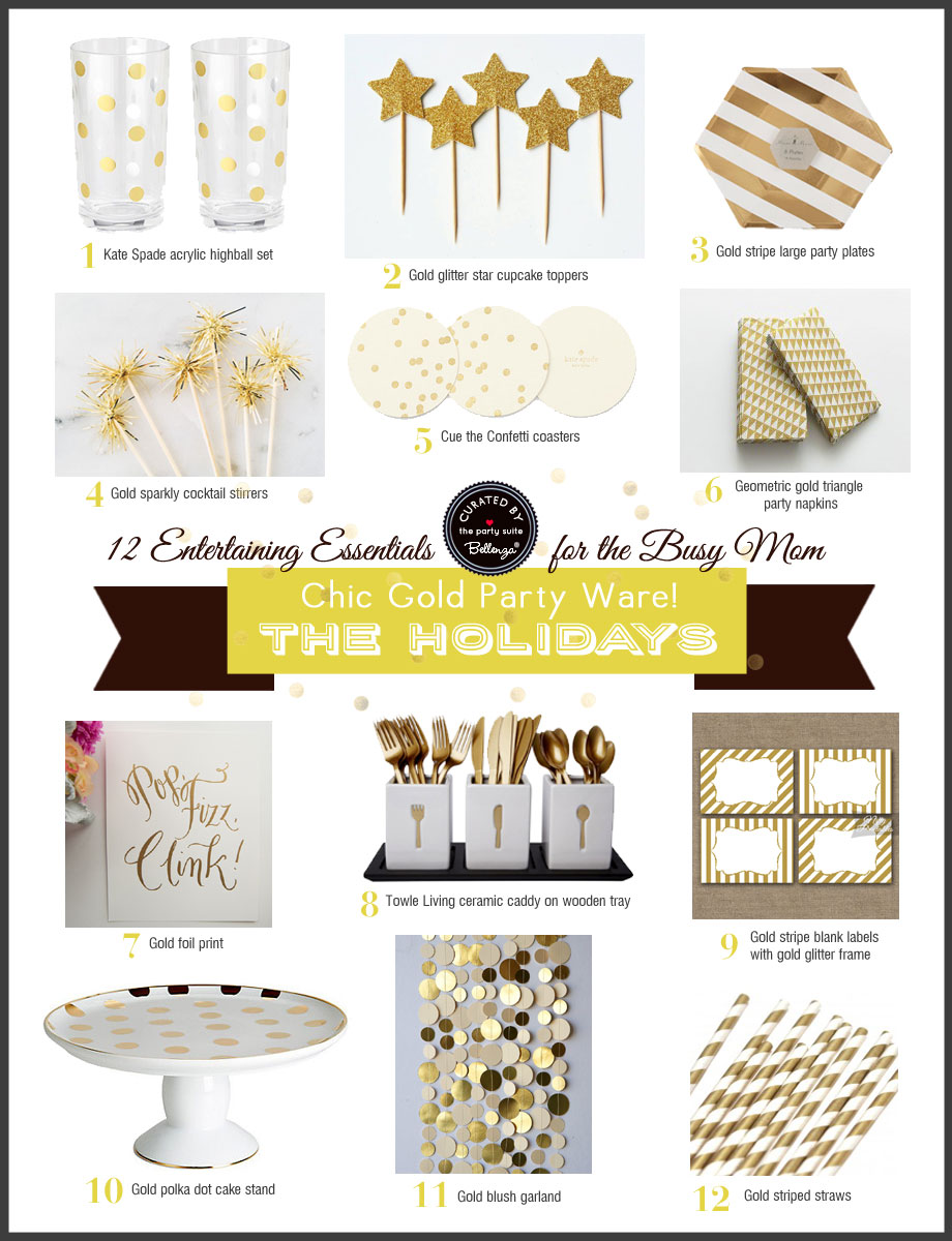 12 Basic Party Essentials All in Gold as Featured on The Party Suite at Bellenza