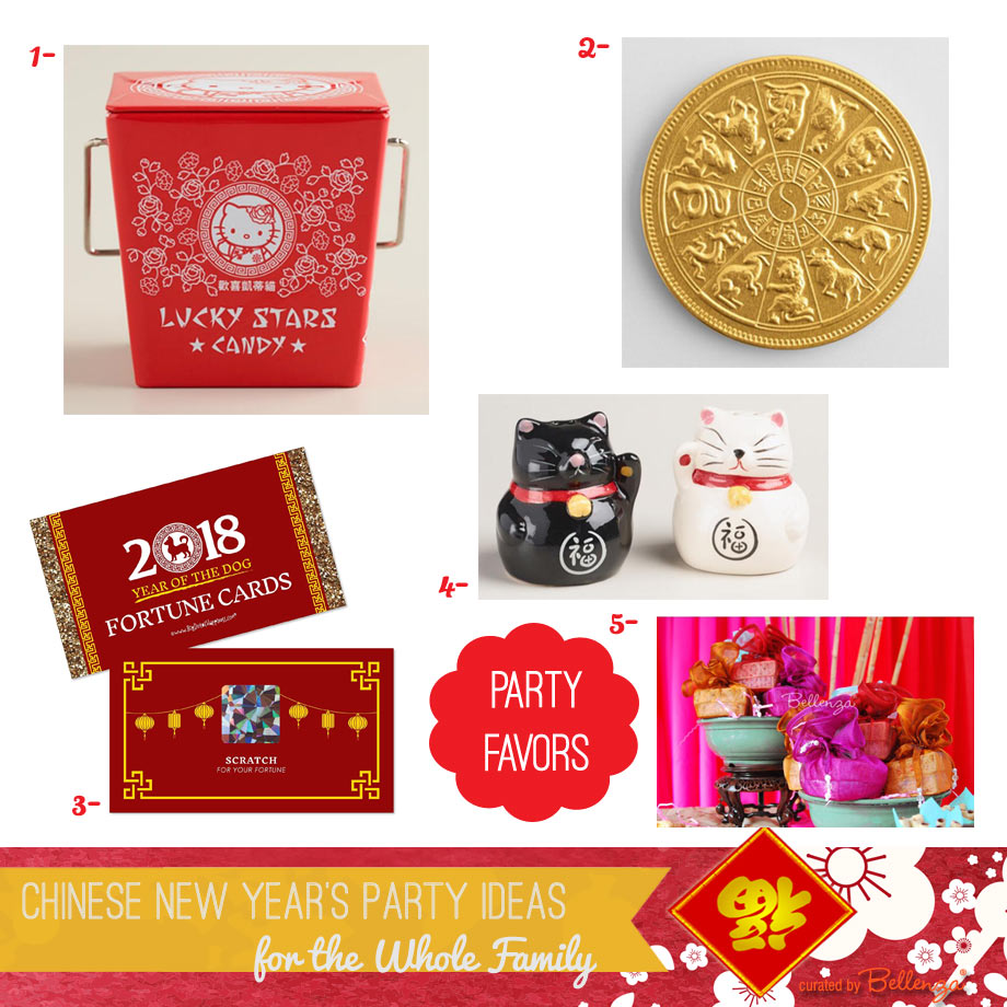 Chinese New Year Party Favor Ideas from Gold Chocolates to Fortune Cards