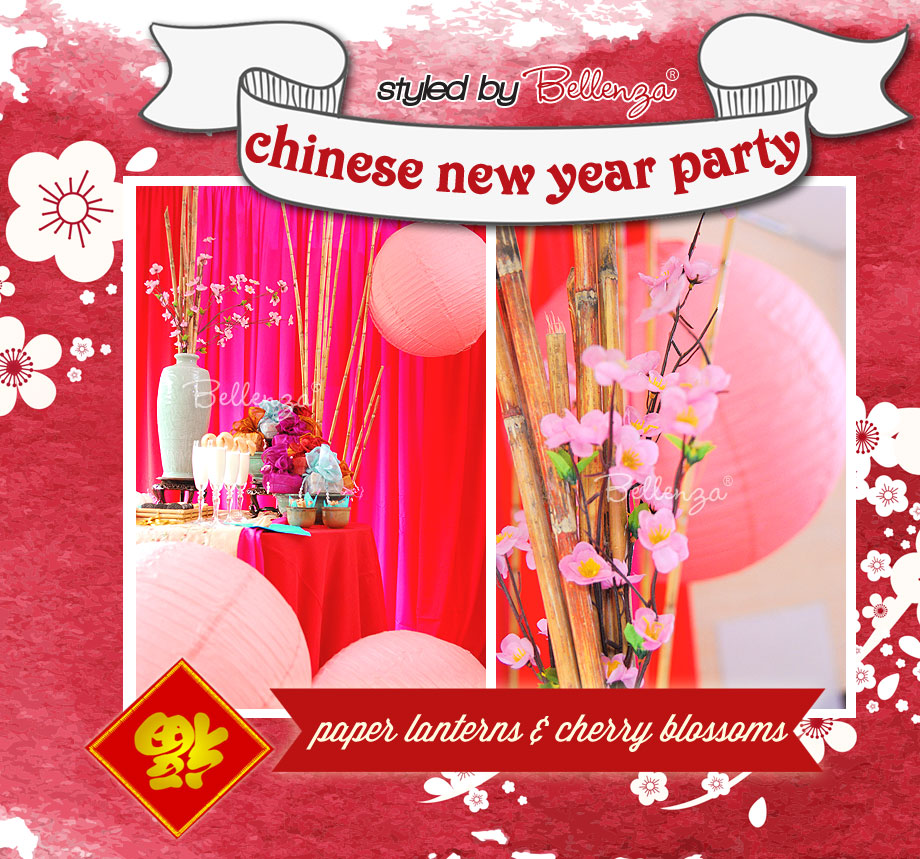 Chinese Paper Lanterns in Pink with Faux Cherry Blossoms!