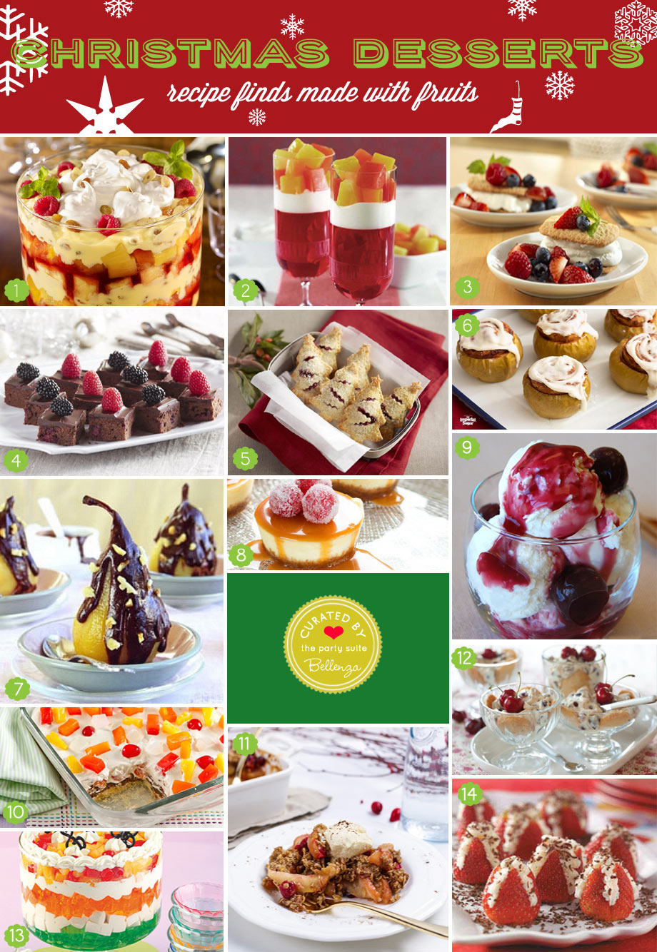 Creative Easy Prep Christmas Desserts Made with Fruits from Apples to Pears to Berries