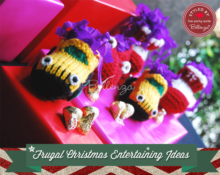 Crocheted booties as homemade Christmas favors.