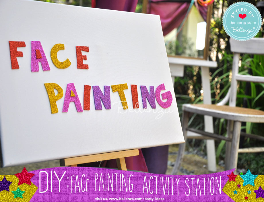 sparkling letters for a face painting party
