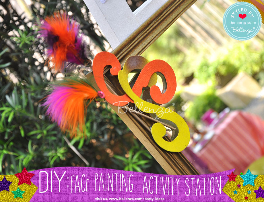 colorful accents for a circus party mirror