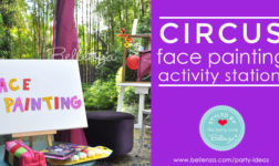 Circus party activity with a face painting station