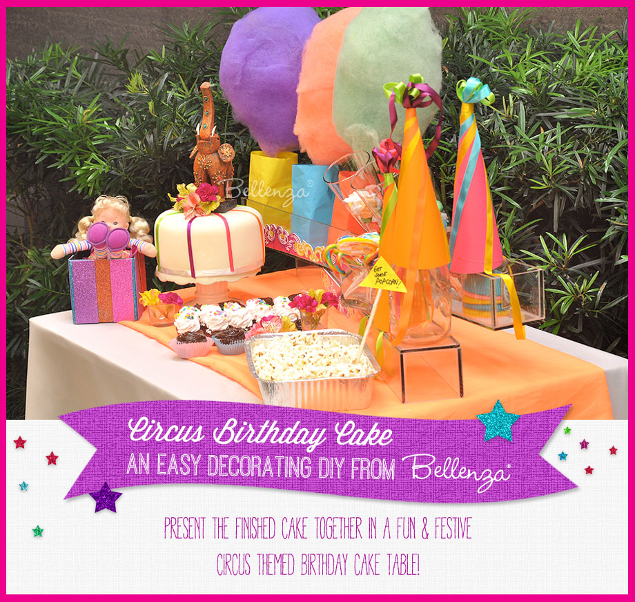 A Circus-themed Birthday Cake Presented as Part of a Dessert Presentation Table