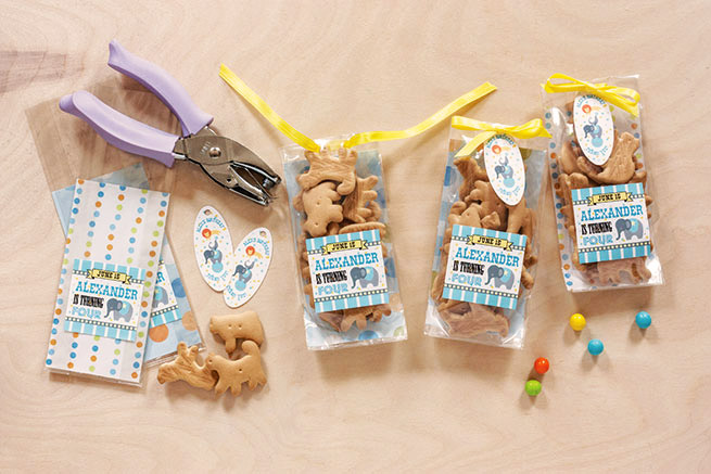 #5 Assorted animal crackers presented in cello bags with circus animal labels and oval hang tags from Evermine