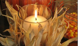 Corn husk candle holder