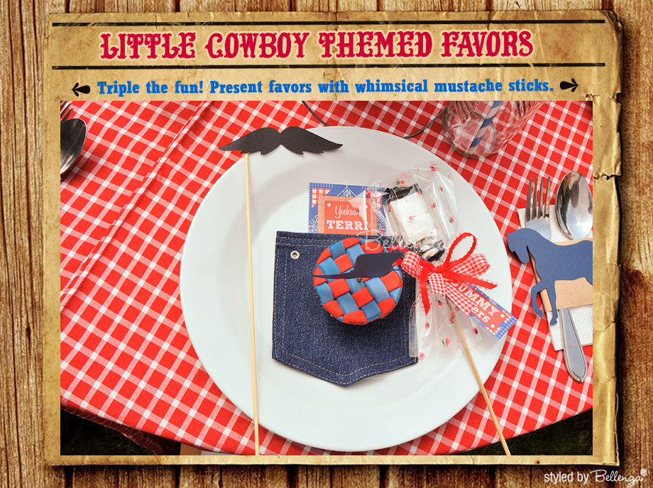 Cowboy favors with mustache sticks for a cowboy themed party