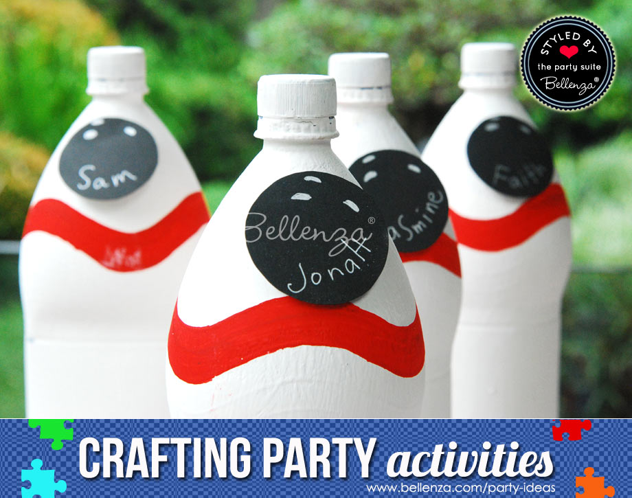 Painted white bowling pin bottles