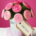 Pink cupcake centerpiece. Photo credit: Punch Bowl