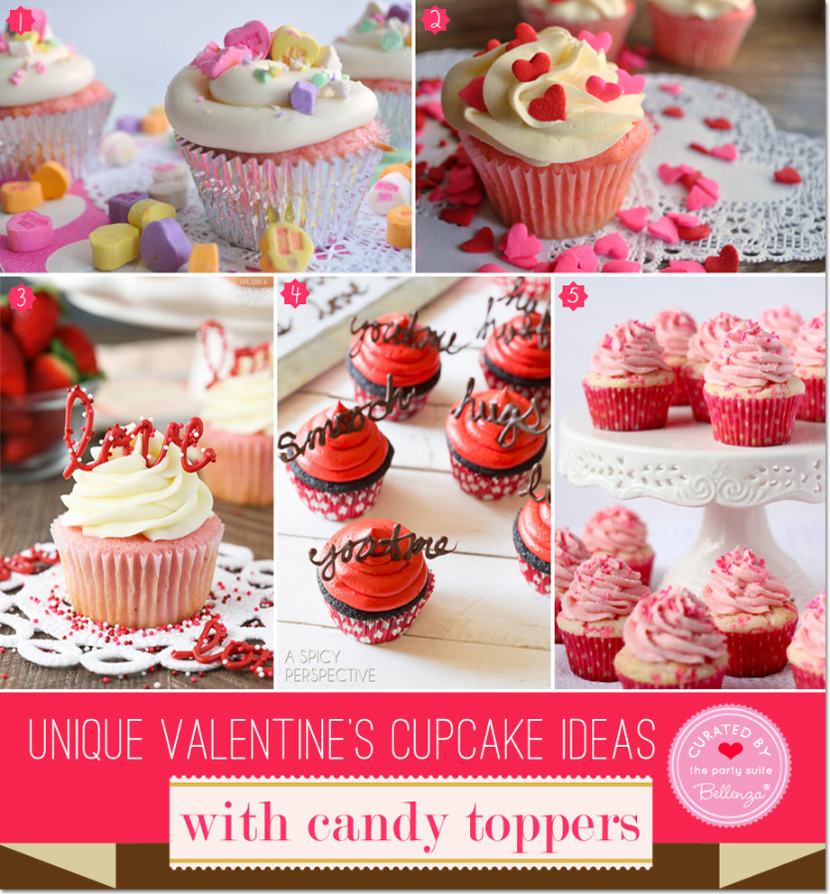Valentine's cupcake candy toppers