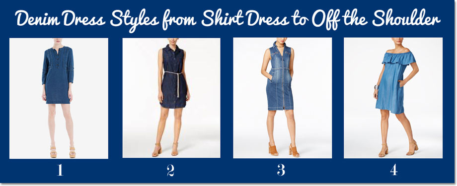 Denim Dress Styles from Shirt Dress to Off the Shoulder