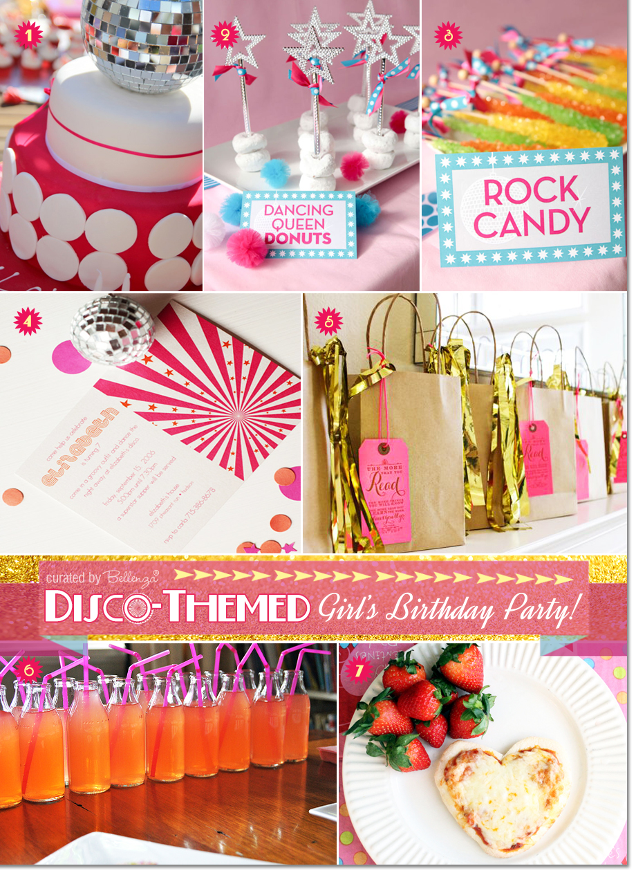 Fun ideas for a disco themed pre-teen birthday that includes a glitzy disco cake, dancing queen donuts, and glam treat bags for guests.