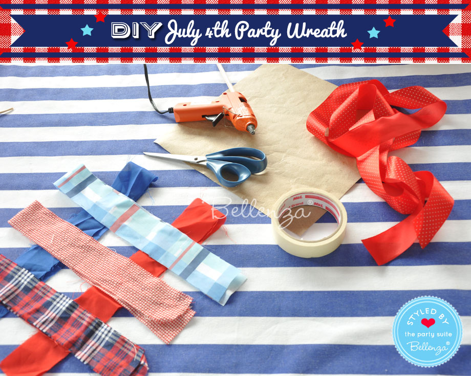Materials for making a July 4th wreath in red, white, and blue