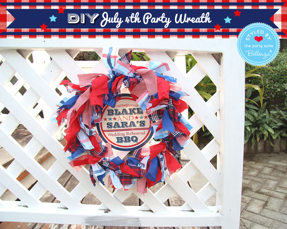 Patriotic Party Wreath for July 4th as decorations or hostess gift