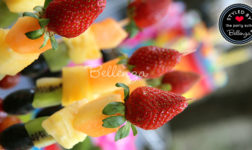 Rainbow fruits on a stick skewers