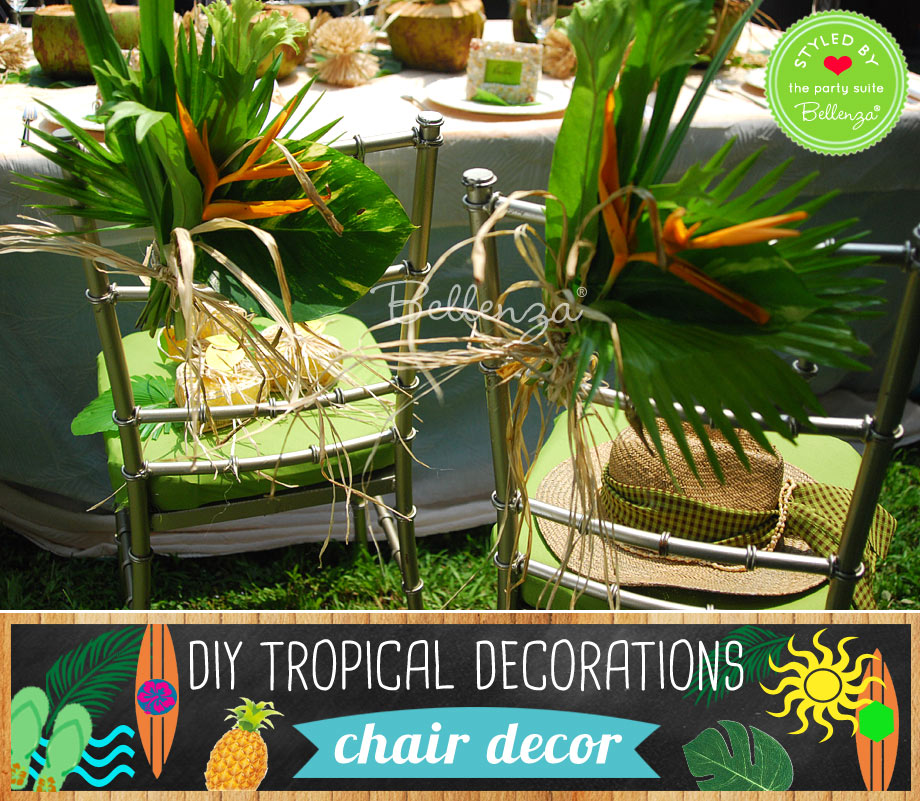 Tropical chair decorations for a party made of leaves.