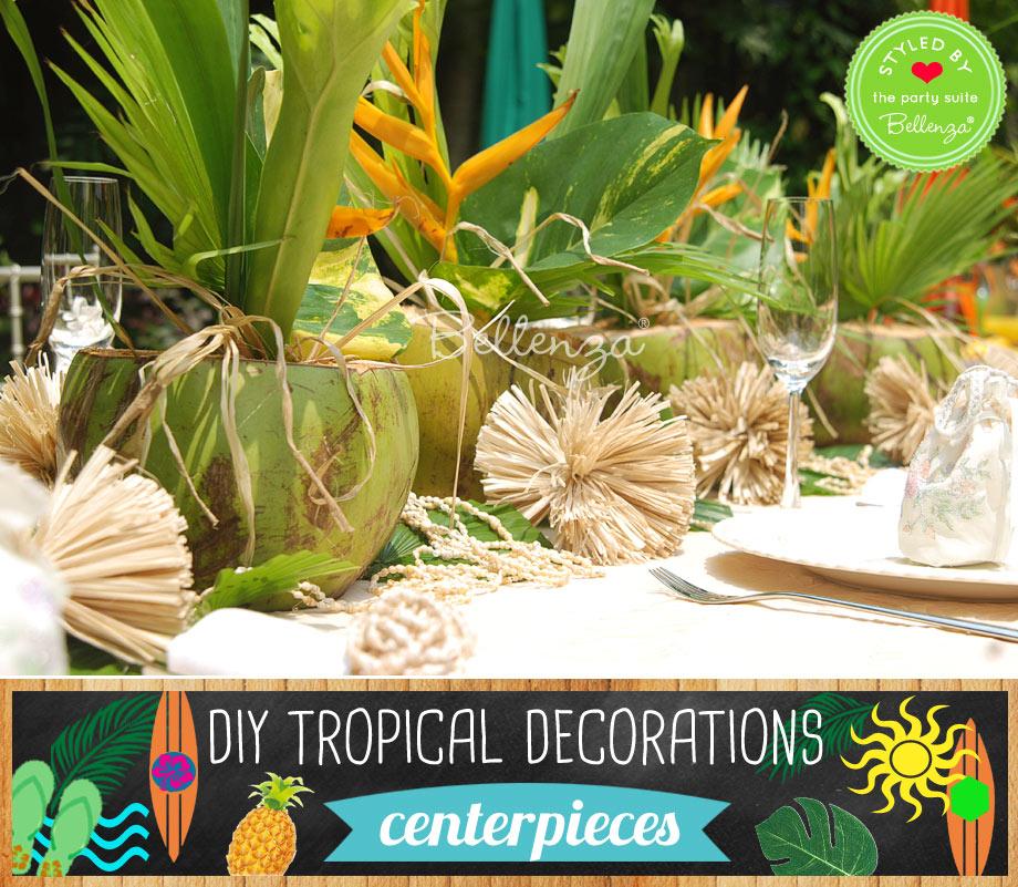 Tropical diy centerpieces with coconuts.