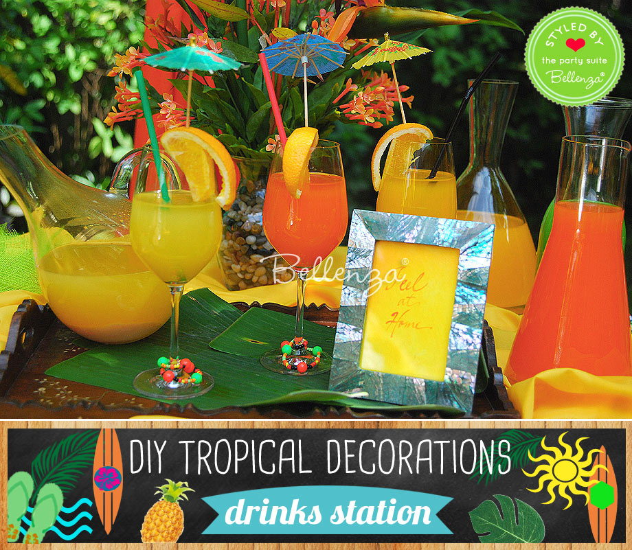 DIY Tropical drinks station decorations.