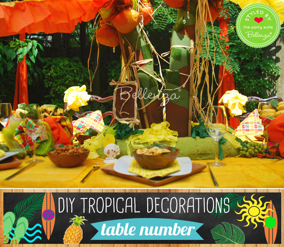 Table number for a tropical party.