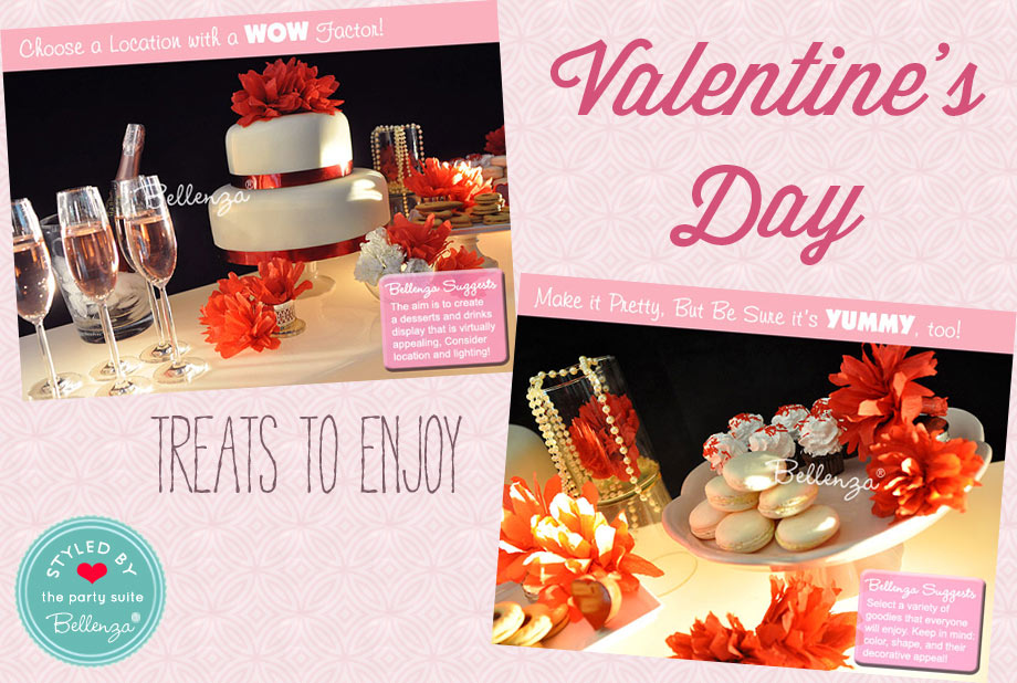 Dessert Tables for Valentine's Day with Cake and Macarons