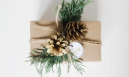 Brown Christmas Wrapping with Cedar and Pinecones from Home Depot