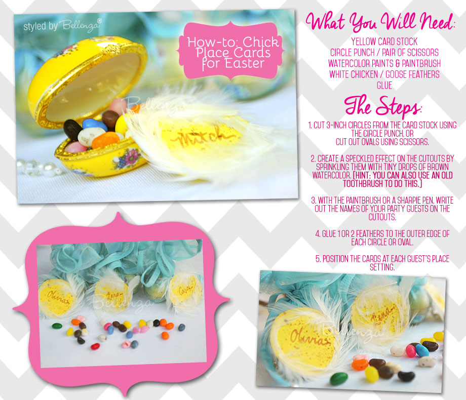 Easy tutorial for making colorful Easter chick place cards, gift tags, or labels
