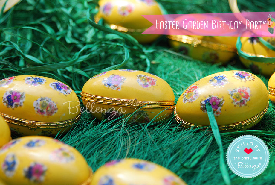 Yellow floral eggs on faux grass
