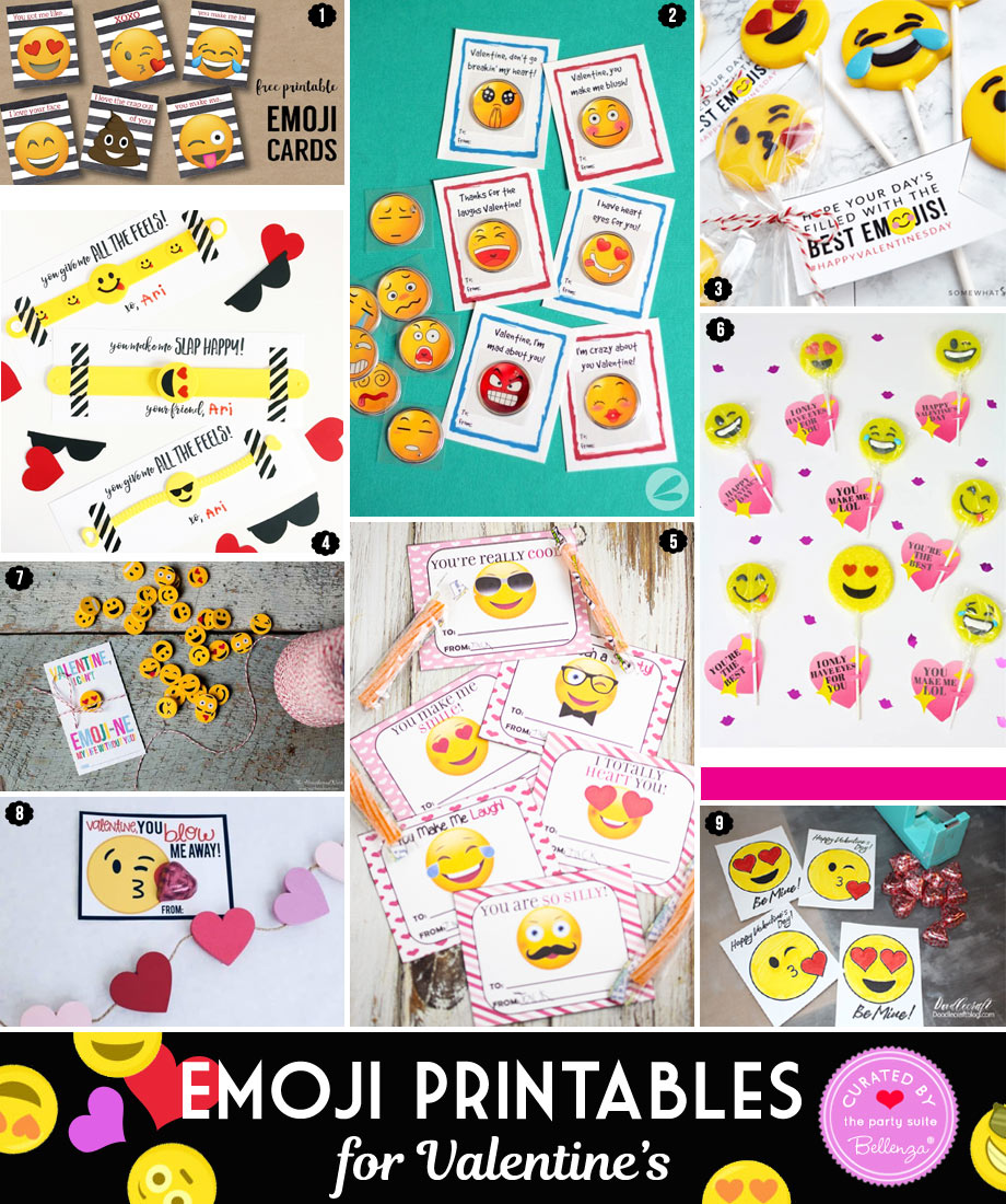Free Emoji Valentine's Printables from Cards to Favor Tags