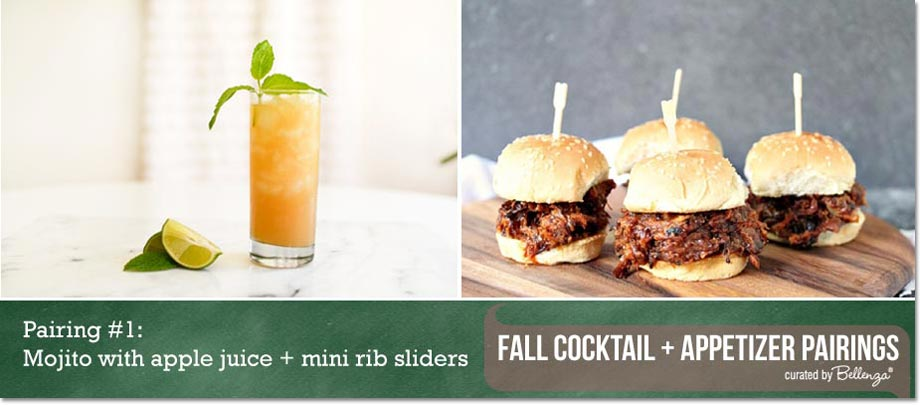 Mojito with apple juice + mini rib sliders // Curated Finds by Bellenza